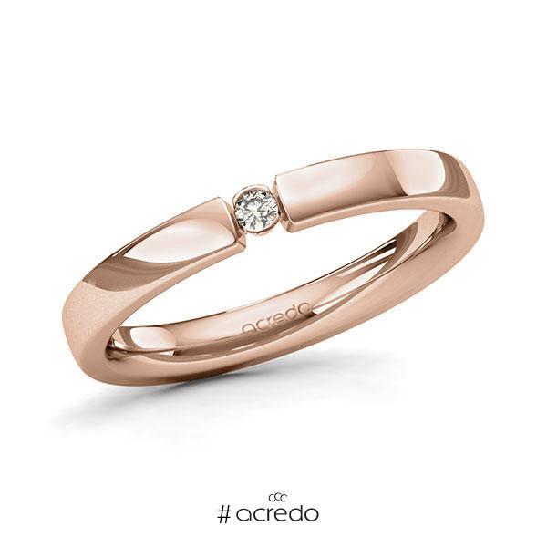 Memoire/Diamantring in Rotgold 585 mit zus. 0,04 ct. Brillant tw, si von acredo