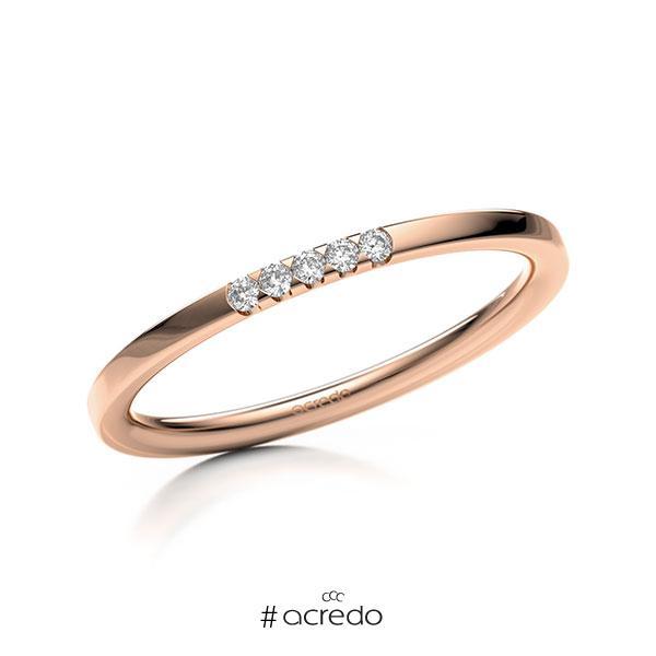 Memoire/Diamantring in Rotgold 585 mit zus. 0,05 ct. Brillant tw, si von acredo