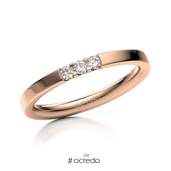 Memoire/Diamantring in Rotgold 585 mit zus. 0,12 ct. Brillant tw, vs von acredo