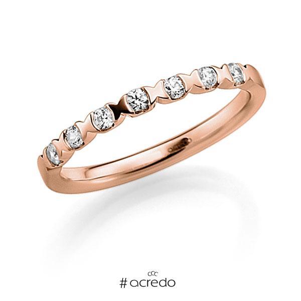 Memoire/Diamantring in Rotgold 585 mit zus. 0,14 ct. Brillant tw, vs von acredo