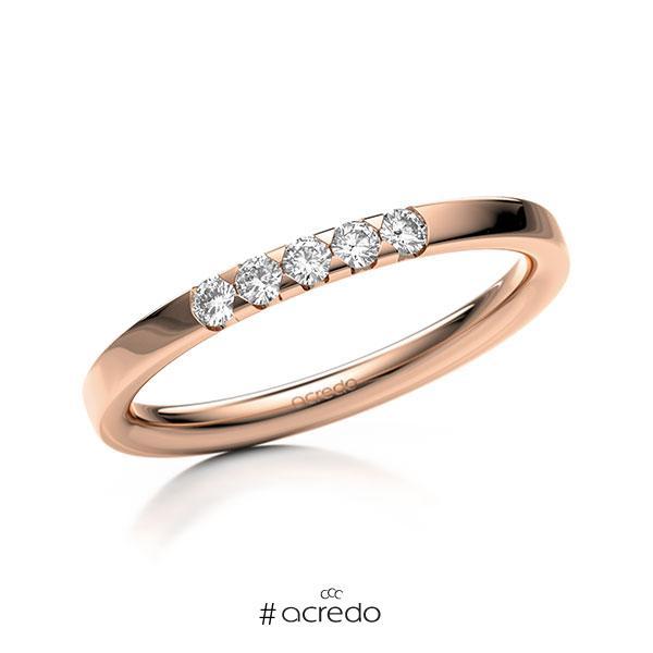 Memoire/Diamantring in Rotgold 585 mit zus. 0,15 ct. Brillant tw, si von acredo