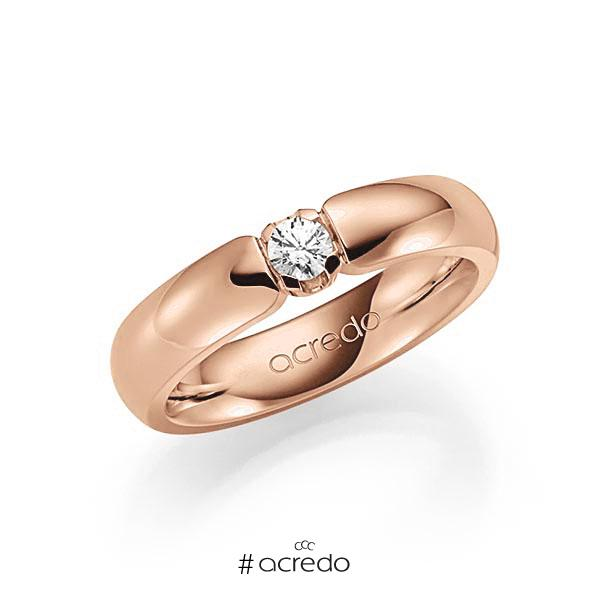 Memoire/Diamantring in Rotgold 585 mit zus. 0,15 ct. Brillant tw, vs von acredo