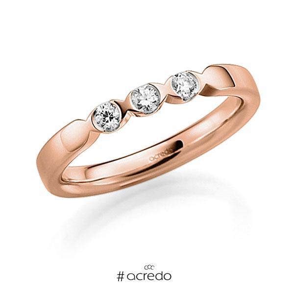 Memoire/Diamantring in Rotgold 585 mit zus. 0,18 ct. Brillant tw, vs von acredo