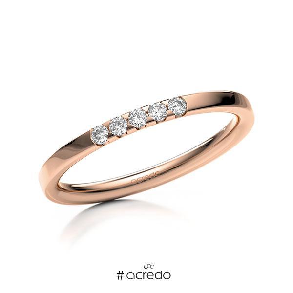 Memoire/Diamantring in Rotgold 585 mit zus. 0,1 ct. Brillant tw, si von acredo