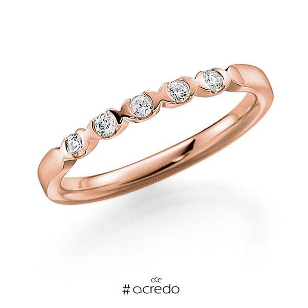 Memoire/Diamantring in Rotgold 585 mit zus. 0,1 ct. Brillant tw, vs von acredo