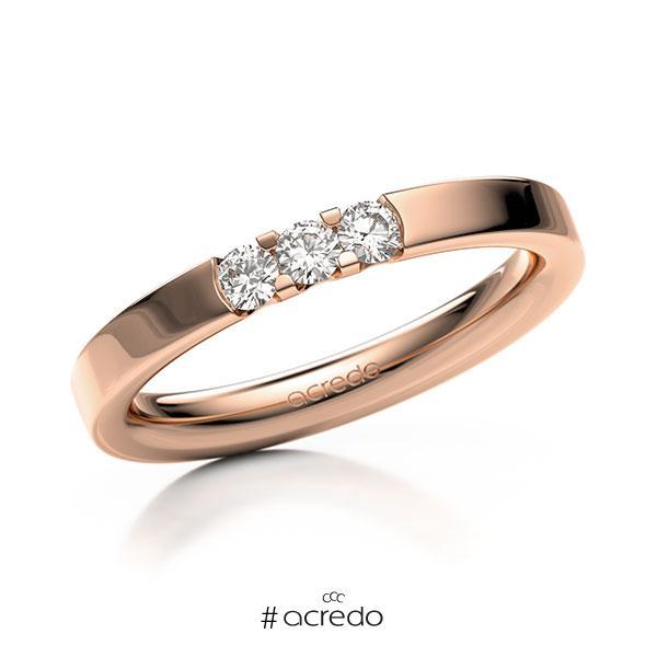 Memoire/Diamantring in Rotgold 585 mit zus. 0,21 ct. Brillant tw, vs von acredo