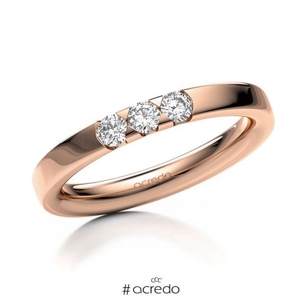Memoire/Diamantring in Rotgold 585 mit zus. 0,24 ct. Brillant tw, si von acredo