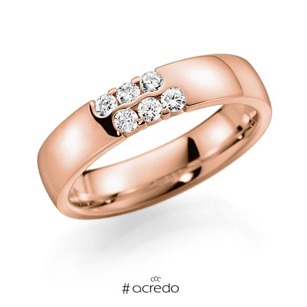 Memoire/Diamantring in Rotgold 585 mit zus. 0,24 ct. Brillant tw, vs von acredo