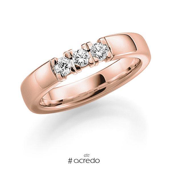 Memoire/Diamantring in Rotgold 585 mit zus. 0,27 ct. Brillant tw, vs von acredo