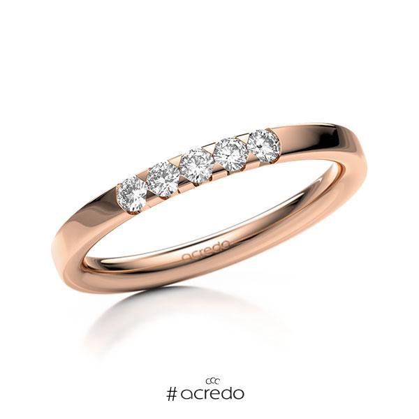 Memoire/Diamantring in Rotgold 585 mit zus. 0,2 ct. Brillant tw, si von acredo