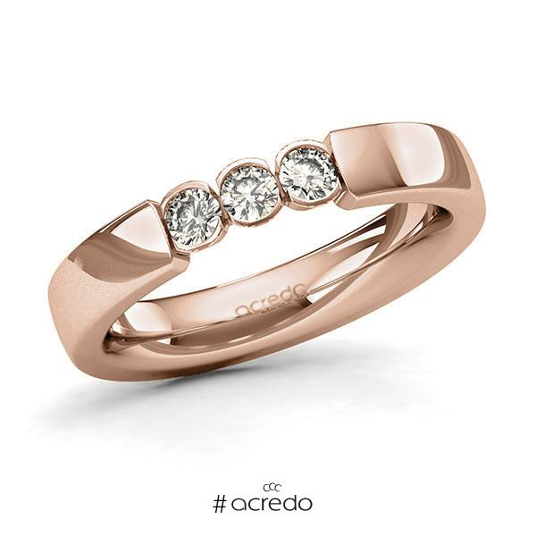 Memoire/Diamantring in Rotgold 585 mit zus. 0,3 ct. Brillant tw, si von acredo