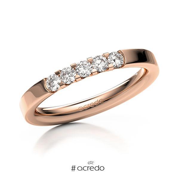 Memoire/Diamantring in Rotgold 585 mit zus. 0,3 ct. Brillant tw, vs von acredo