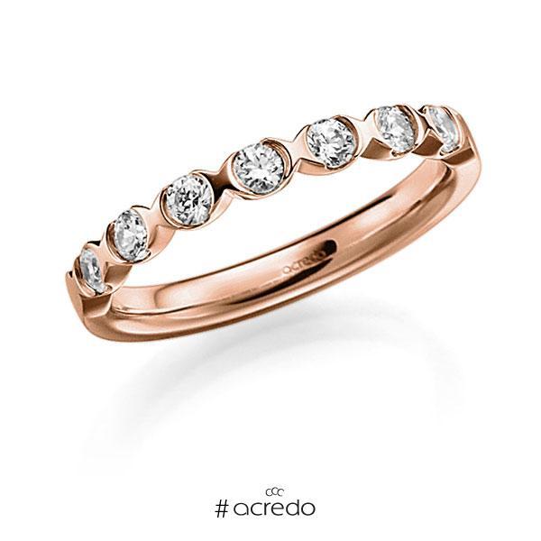 Memoire/Diamantring in Rotgold 585 mit zus. 0,42 ct. Brillant tw, vs von acredo
