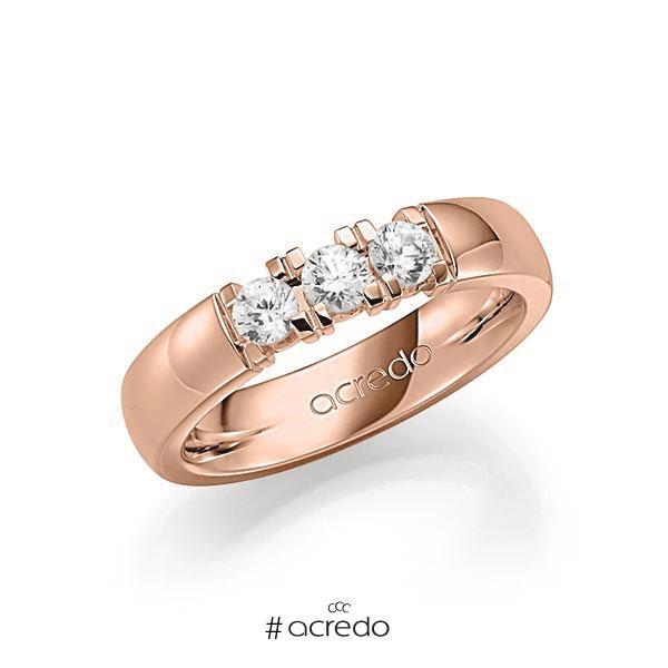 Memoire/Diamantring in Rotgold 585 mit zus. 0,45 ct. Brillant tw, vs von acredo