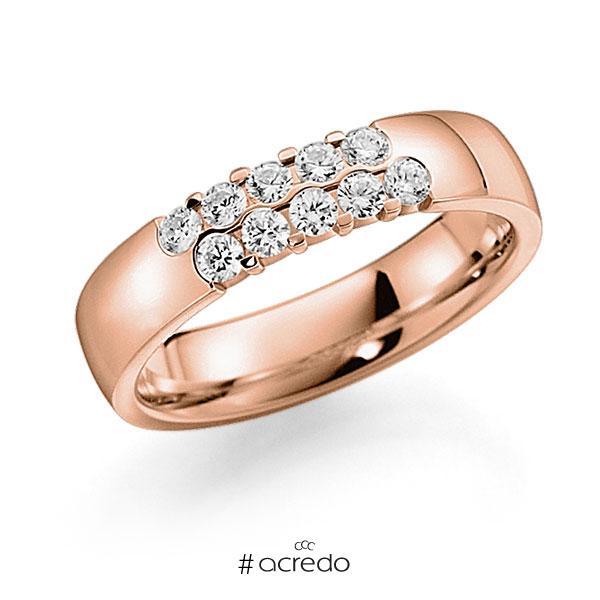 Memoire/Diamantring in Rotgold 585 mit zus. 0,4 ct. Brillant tw, vs von acredo