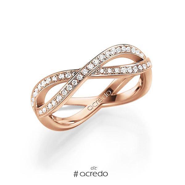 Memoire/Diamantring in Rotgold 585 mit zus. 0,53 ct. tw, vs von acredo