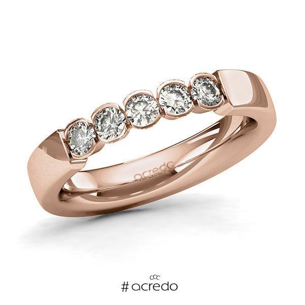 Memoire/Diamantring in Rotgold 585 mit zus. 0,5 ct. Brillant tw, si von acredo