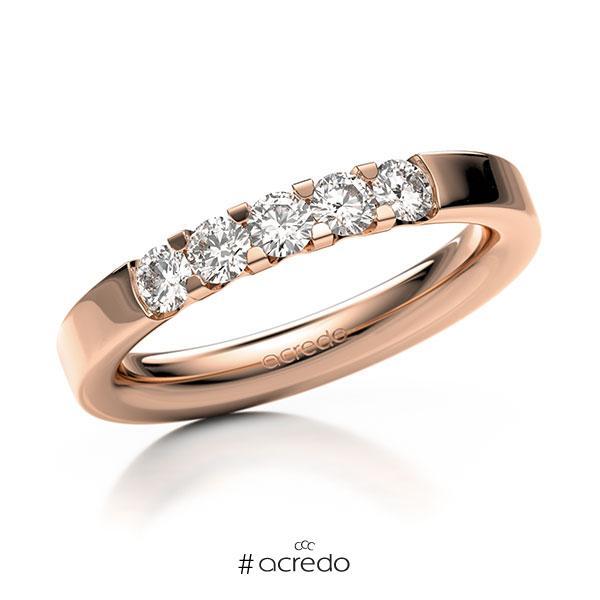 Memoire/Diamantring in Rotgold 585 mit zus. 0,5 ct. Brillant tw, vs von acredo