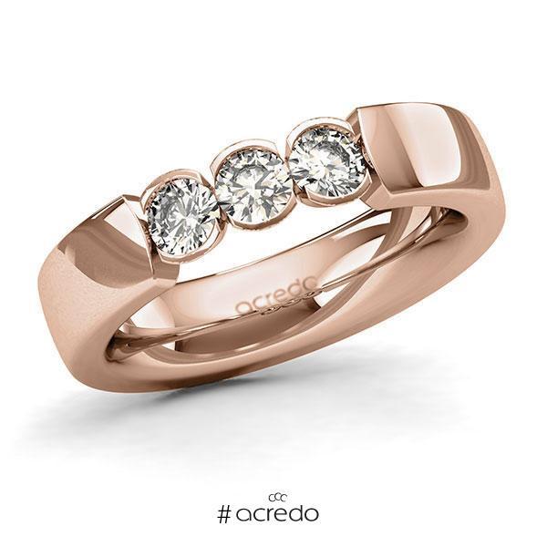Memoire/Diamantring in Rotgold 585 mit zus. 0,6 ct. Brillant tw, si von acredo