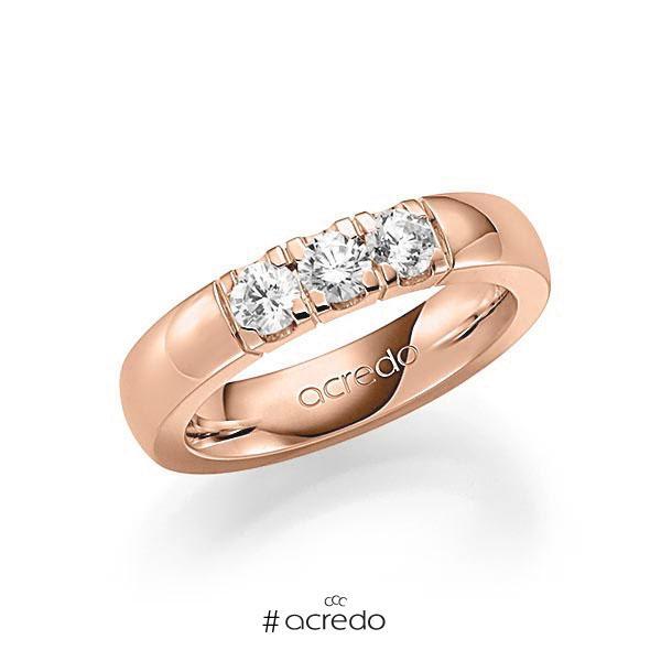 Memoire/Diamantring in Rotgold 585 mit zus. 0,6 ct. Brillant tw, vs von acredo