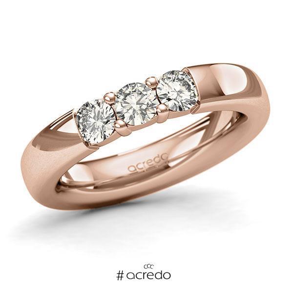 Memoire/Diamantring in Rotgold 585 mit zus. 0,75 ct. Brillant tw, si von acredo