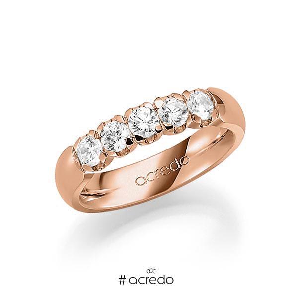 Memoire/Diamantring in Rotgold 585 mit zus. 0,75 ct. Brillant tw, vs von acredo