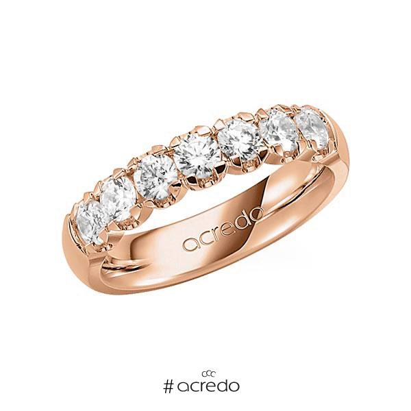 Memoire/Diamantring in Rotgold 585 mit zus. 1,05 ct. Brillant tw, vs von acredo