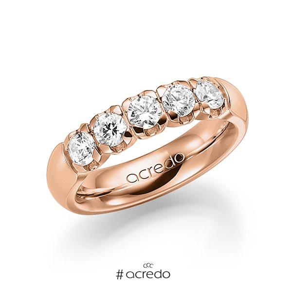 Memoire/Diamantring in Rotgold 585 mit zus. 1 ct. Brillant tw, vs von acredo