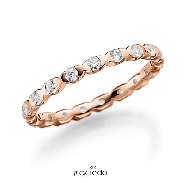 Memoire/Diamantring in Rotgold 585 vollausgefasst mit zus. 0,57 ct. Brillant tw, vs von acredo