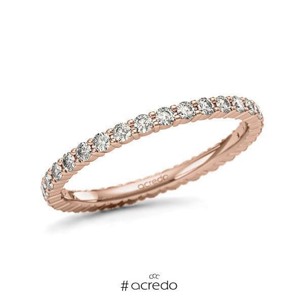 Memoire/Diamantring in Rotgold 585 vollausgefasst mit zus. 0,62 ct. Brillant tw, si von acredo