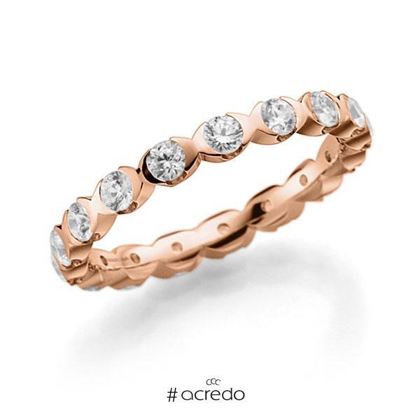 Memoire/Diamantring in Rotgold 585 vollausgefasst mit zus. 1,02 ct. Brillant tw, vs von acredo