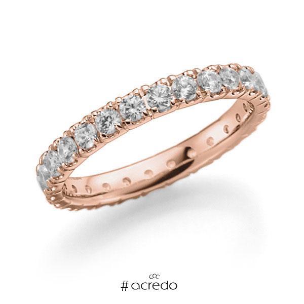 Memoire/Diamantring in Rotgold 585 vollausgefasst mit zus. 1,3 ct. Brillant tw, vs von acredo
