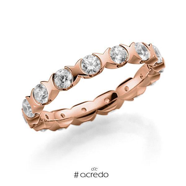 Memoire/Diamantring in Rotgold 585 vollausgefasst mit zus. 1,5 ct. Brillant tw, vs von acredo