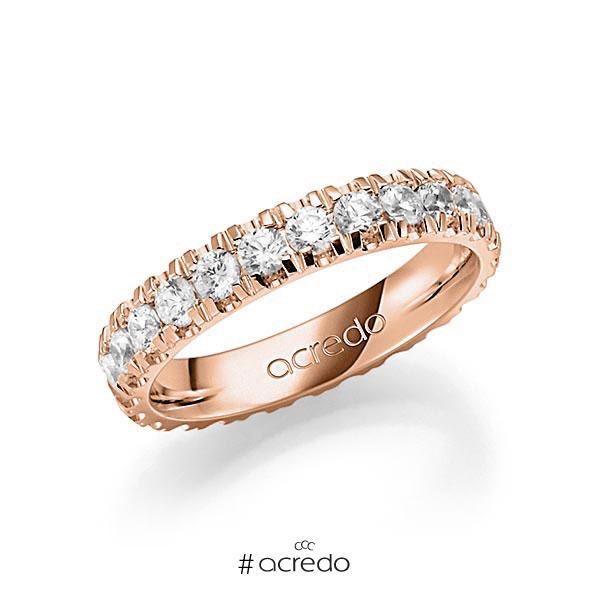 Memoire/Diamantring in Rotgold 585 vollausgefasst mit zus. 1,68 ct. Brillant tw, vs von acredo