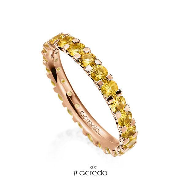 Memoire/Diamantring in Rotgold 585 vollausgefasst mit zus. 2,07 ct. Brillant Saphir Gelb (A 8) von acredo