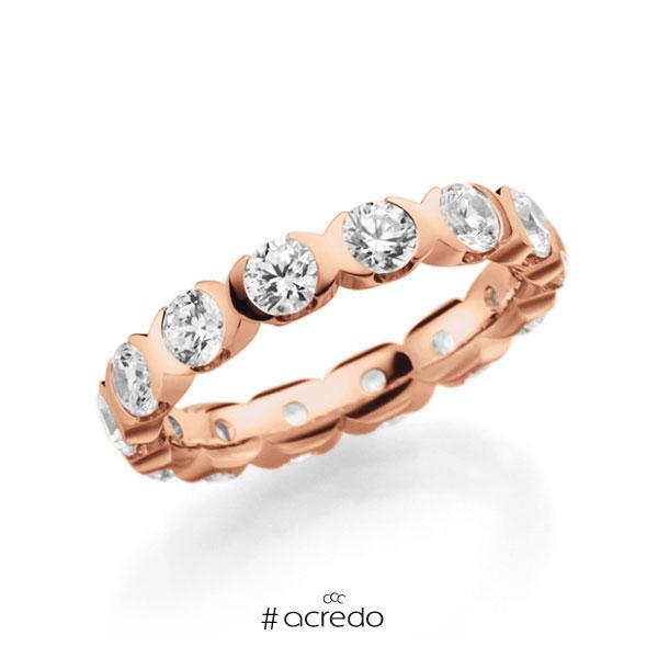 Memoire/Diamantring in Rotgold 585 vollausgefasst mit zus. 2,1 ct. Brillant tw, vs von acredo