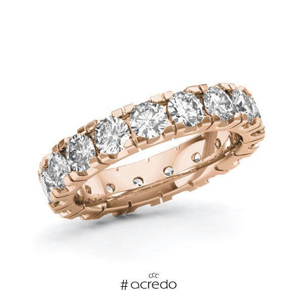 Memoire/Diamantring in Rotgold 585 vollausgefasst mit zus. 3,4 ct. Brillant tw, vs von acredo