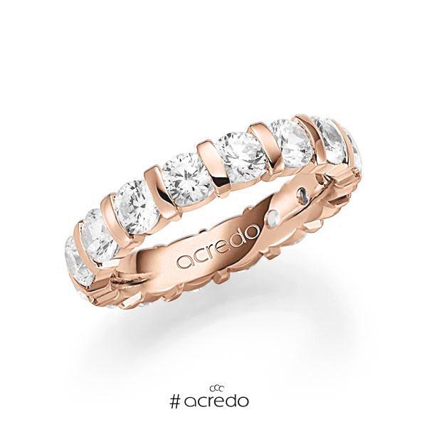 Memoire/Diamantring in Rotgold 585 vollausgefasst mit zus. 4 ct. Brillant tw, vs von acredo