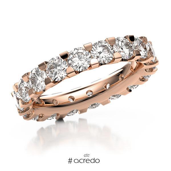 Memoire/Diamantring in Rotgold 750 vollausgefasst mit zus. 4,14 ct. Brillant tw, vs von acredo