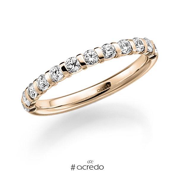 Memoire/Diamantring in Signature Gold 585 halbausgefasst mit zus. 0,6 ct. Brillant tw, vs von acredo