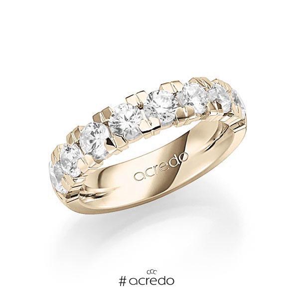 Memoire/Diamantring in Signature Gold 585 halbausgefasst mit zus. 2 ct. Brillant tw, vs von acredo