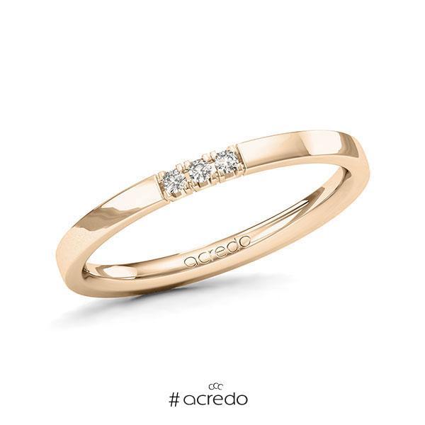 Memoire/Diamantring in Signature Gold 585 mit zus. 0,045 ct. Brillant tw, vs von acredo