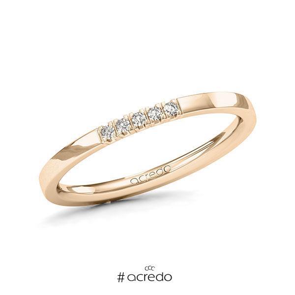 Memoire/Diamantring in Signature Gold 585 mit zus. 0,05 ct. Brillant tw, vs von acredo