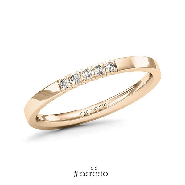 Memoire/Diamantring in Signature Gold 585 mit zus. 0,075 ct. Brillant tw, vs von acredo