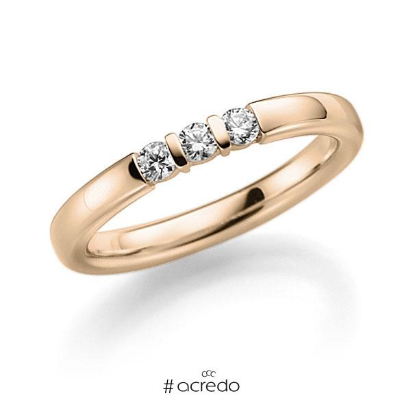 Memoire/Diamantring in Signature Gold 585 mit zus. 0,12 ct. Brillant tw, vs von acredo