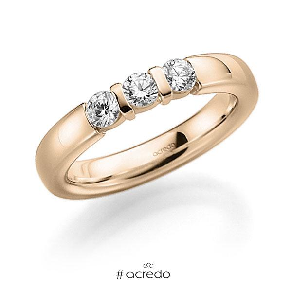 Memoire/Diamantring in Signature Gold 585 mit zus. 0,21 ct. Brillant tw, vs von acredo
