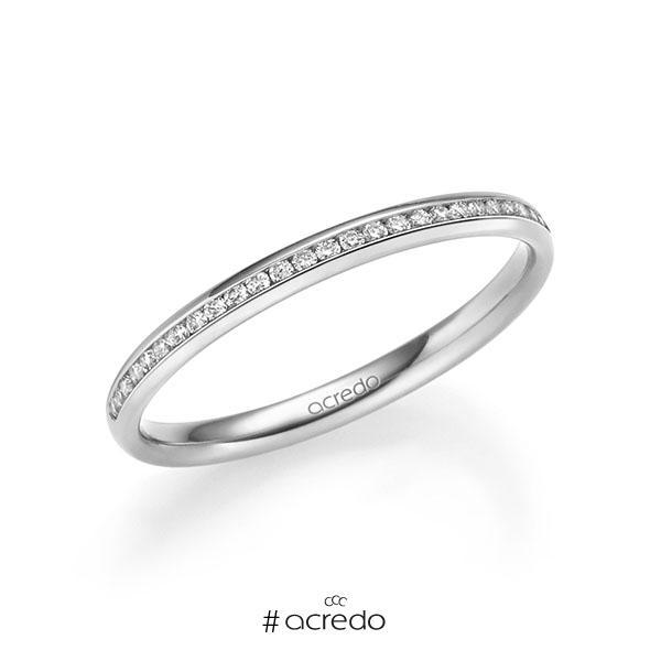 Memoire/Diamantring in Weißgold 585 halbausgefasst mit zus. 0,14 ct. Brillant tw, si von acredo