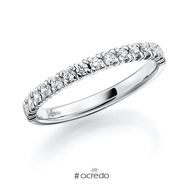 Memoire/Diamantring in Weißgold 585 halbausgefasst mit zus. 0,45 ct. Brillant tw, vs von acredo