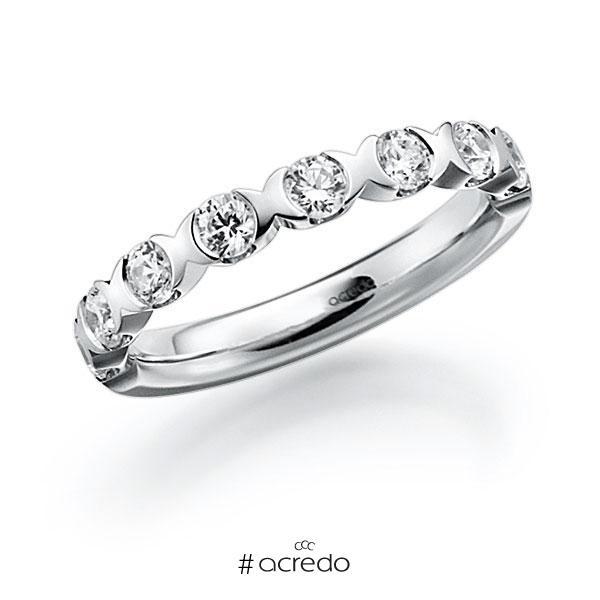 Memoire/Diamantring in Weißgold 585 halbausgefasst mit zus. 0,8 ct. Brillant tw, vs von acredo