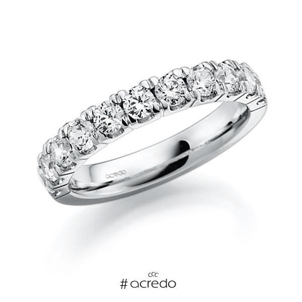 Memoire/Diamantring in Weißgold 585 halbausgefasst mit zus. 1,08 ct. Brillant tw, vs von acredo